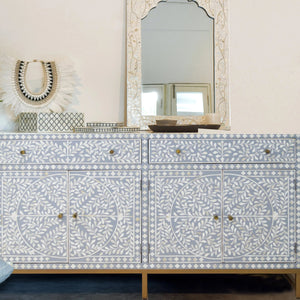 Grey Leaf Pattern - 2 Drawer 4 Cupboard Sideboard