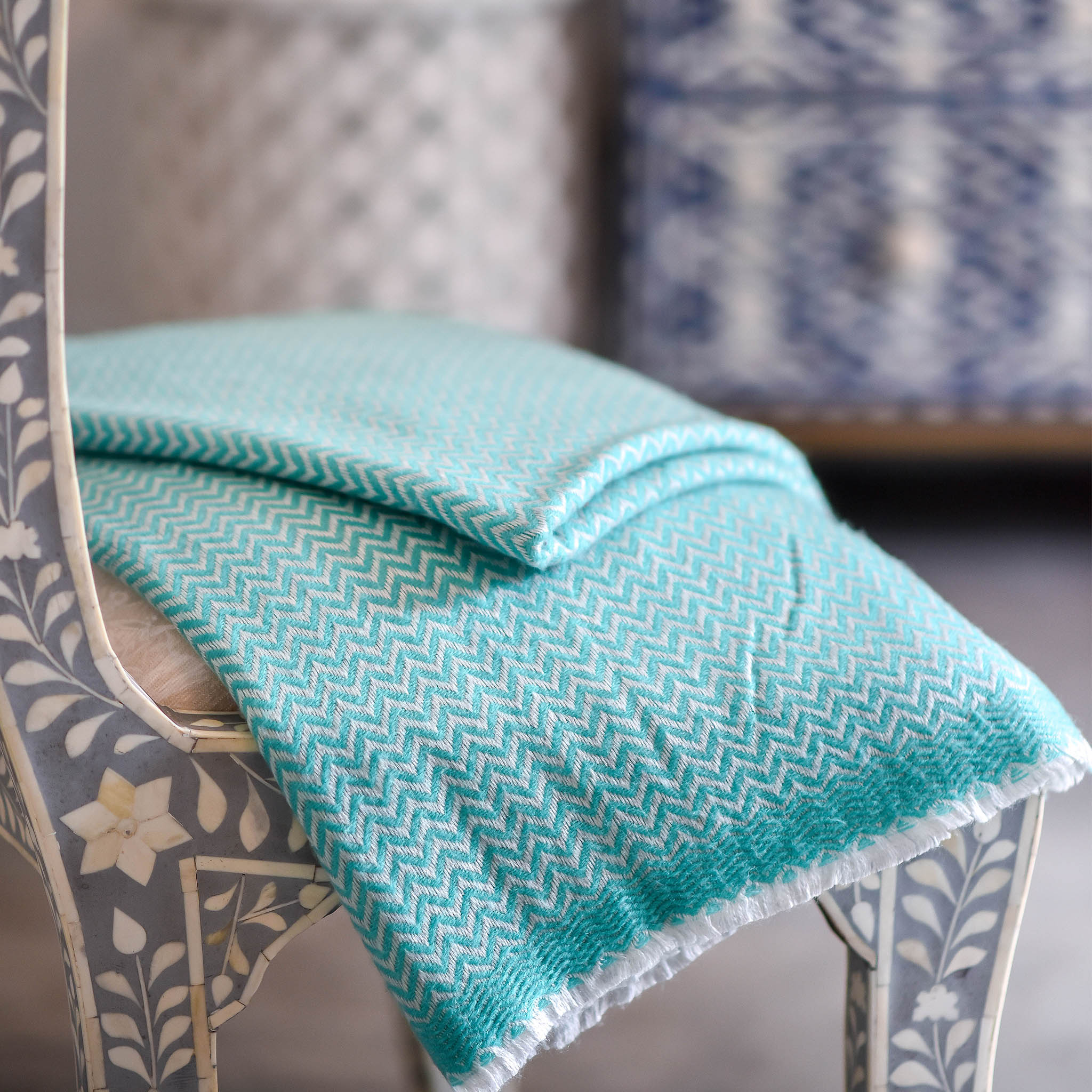 Cashmere Throw - Mint Zig Zag Pattern