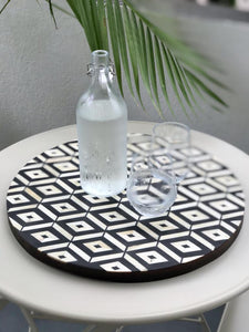 Circular Tray - Diamond Pattern in Black