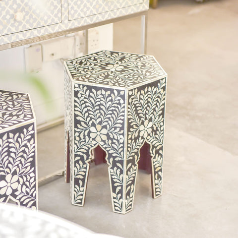 Black Leaf Pattern Hexagonal Side Table - Side Tables