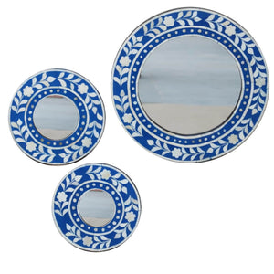 Royal Blue Leaf Round Mirror