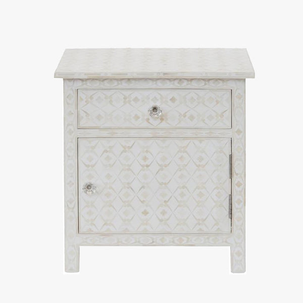 Club Pattern Cream Side Tables - Side Tables