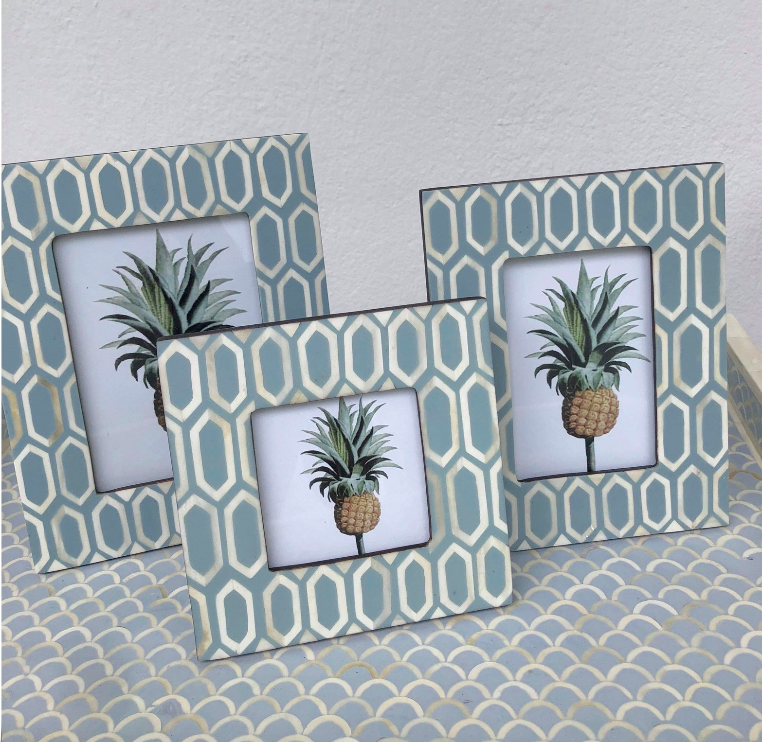 Hexagonal Pattern Photo Frame - Duck Egg Blue