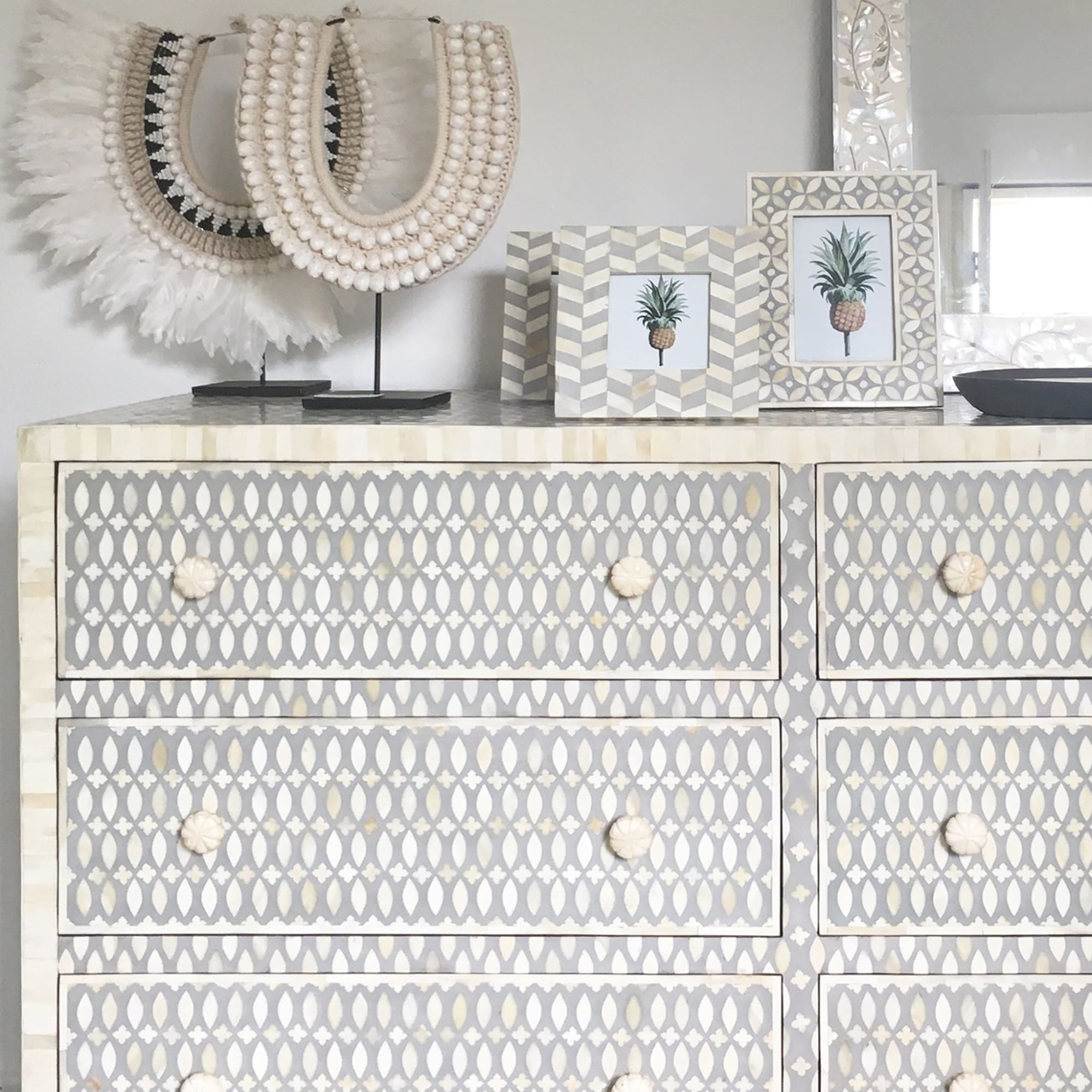 Grey Modern Lattice - 6 Drawer Chest - Chest of Drawers