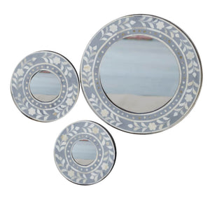 Grey Leaf Round Mirror