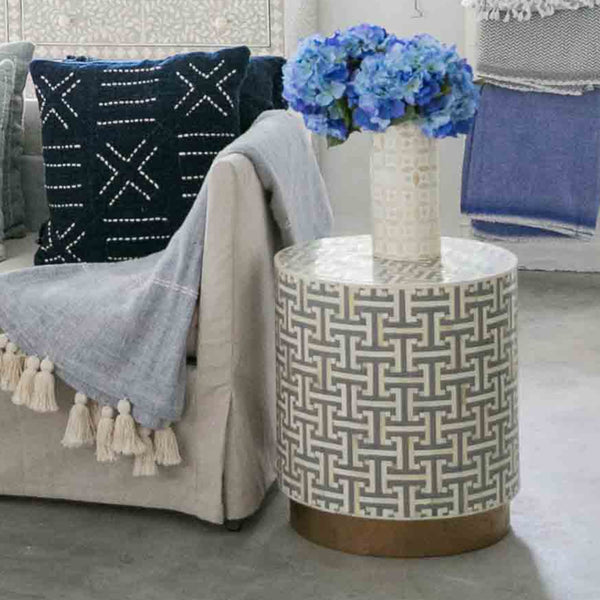 Hacienda Pattern - Cylinder Side Table - Side Tables