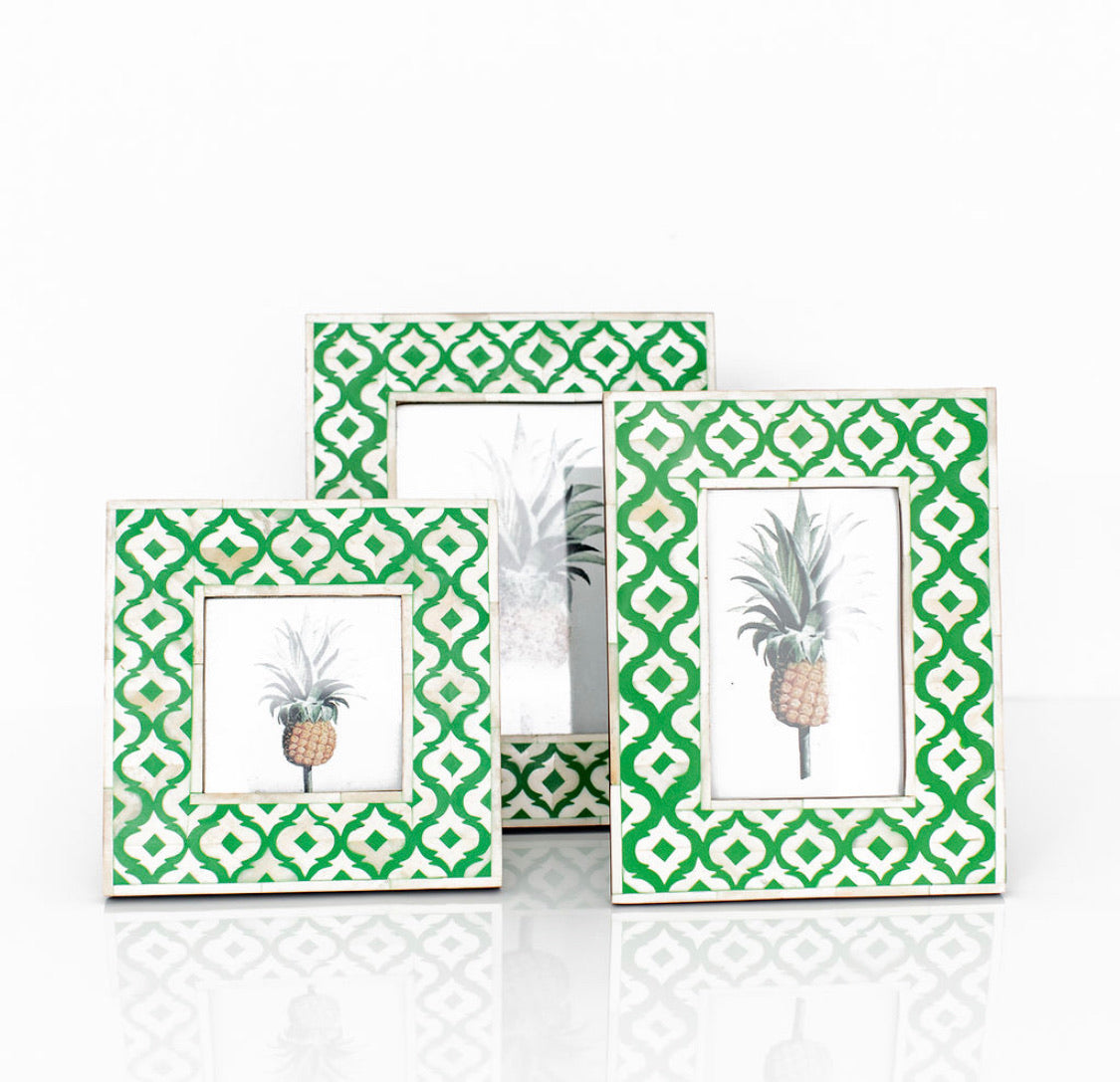 Green Moroccan Pattern Photo Frame