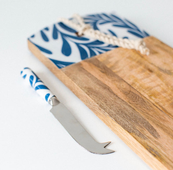 Blue Leaf Cheese Board & Knife