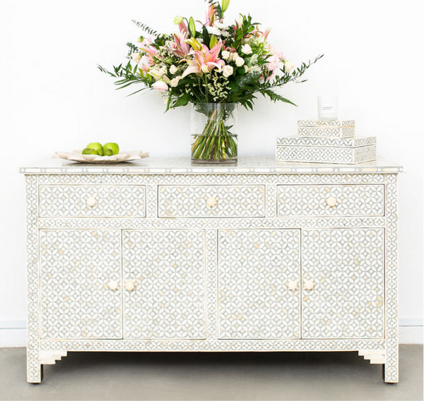 Grey Geometric Pattern - Sideboard