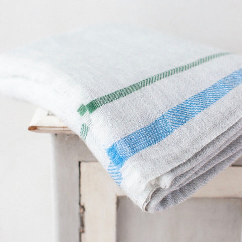 Cashmere Throw - Grey with Blue / Green Stripes
