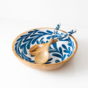 Blue Leaf Salad Bowl - Medium