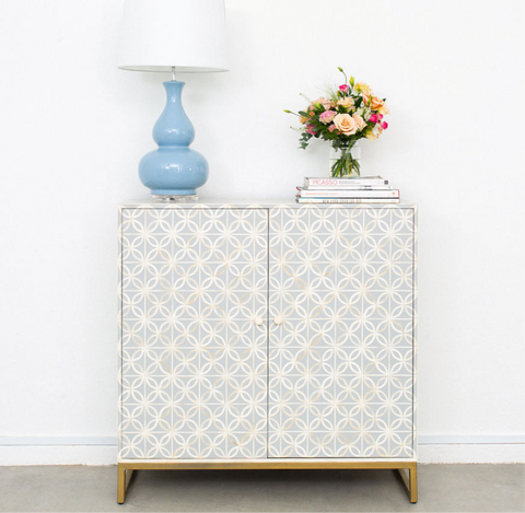 Pale Grey Petal Pattern Cabinet
