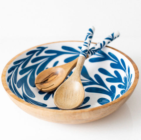 Blue Leaf Salad Bowl - Large