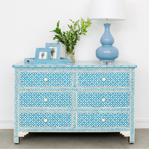 Cornflower Blue Geo Pattern - 6 Drawer Chest
