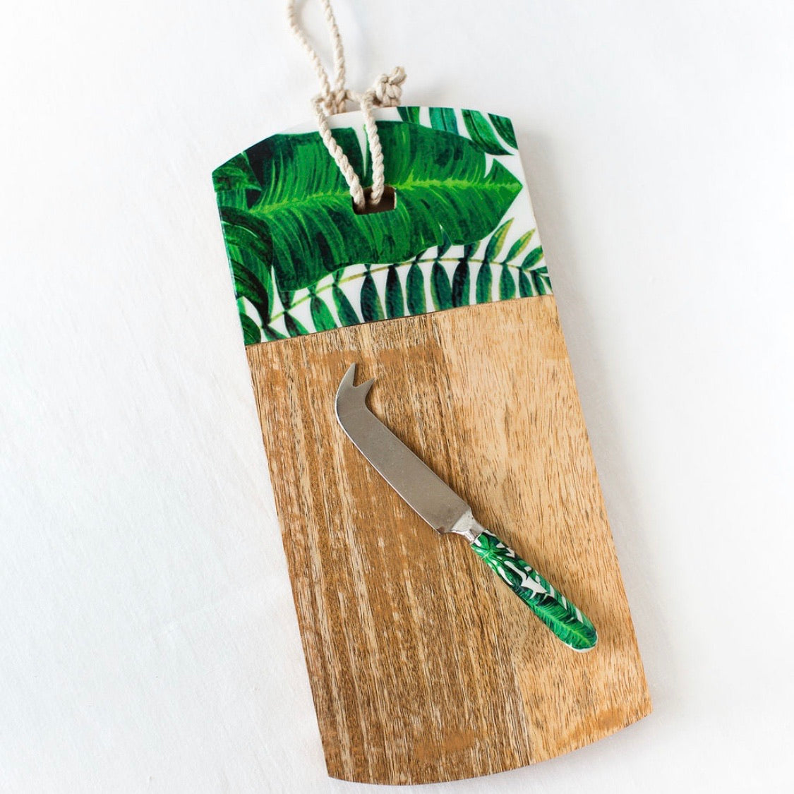 Palm Leaf Cheese Board & Knife