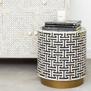 Hacienda Pattern - Cylinder Side Table in Black