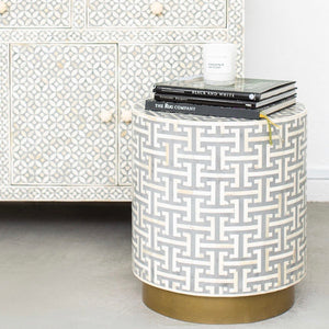 Hacienda Pattern - Cylinder Side Table in Grey