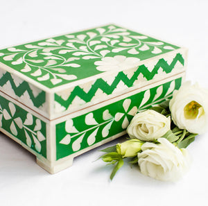 Emerald Leaf Pattern Box - Rectangle