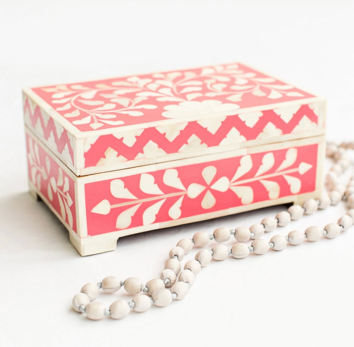 Pink Leaf Pattern Box - Rectangle