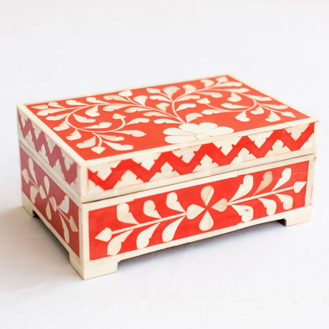 Red Leaf Pattern Box - Rectangle