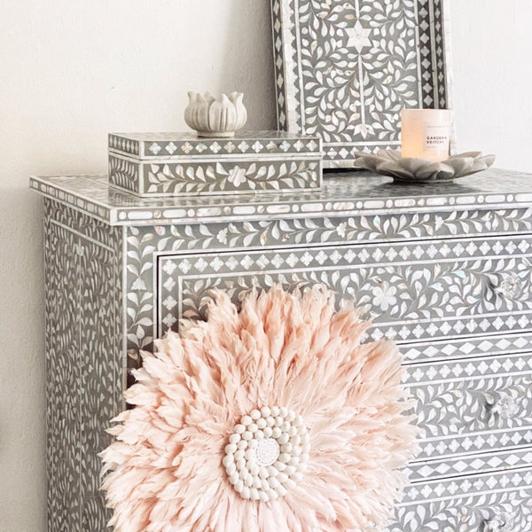 Grey Mother of Pearl Leaf Pattern - 3 Drawer Chest