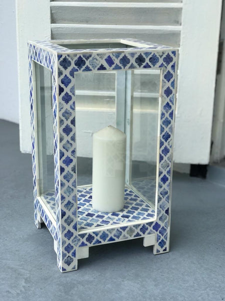 Soft Blue Moroc Hurricane Lamp
