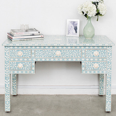 Pale Blue Leaf Pattern Desk