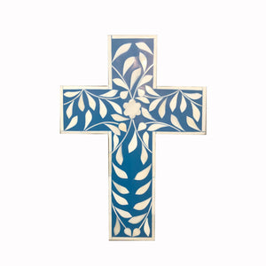 Leaf Pattern Navy Cross - Crosses