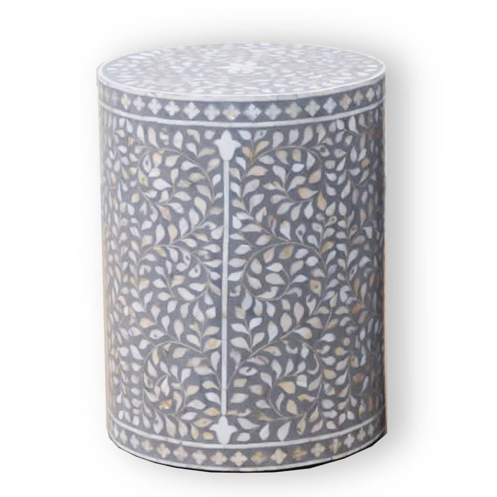 Grey Mother of Pearl - Cylinder Side Table
