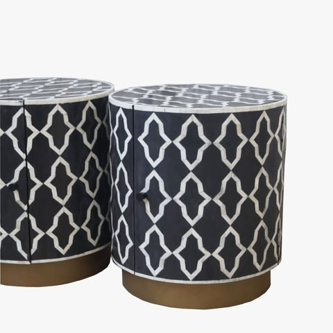 Moroccan Arch Pattern - Cylinder Side Table - Side Tables