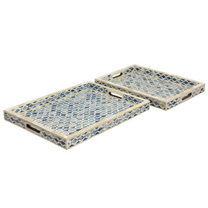 Moroccan Pattern Collection - Dipped Blue Bone Inlay / Medium - Trays