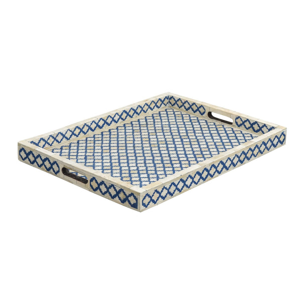 Mughal Pattern Collection - Indigo Blue Bone Inlay / Medium - Trays