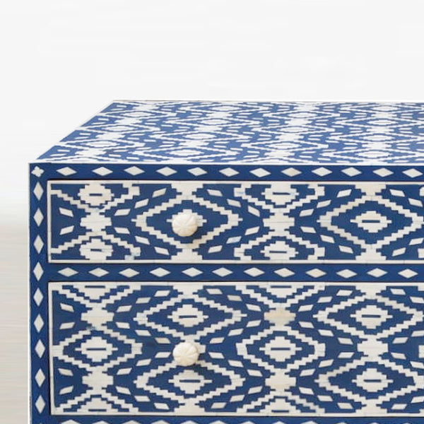 Navy Ikat Pattern - 3 Drawer Chest - Chest of Drawers