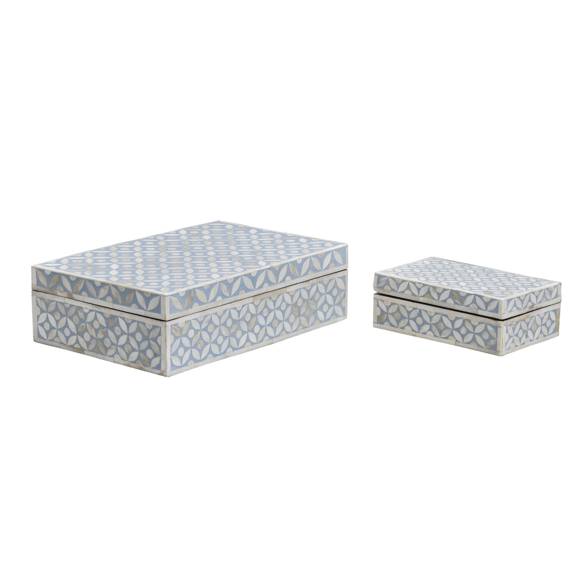 Pale Blue Geometric Pattern - Boxes