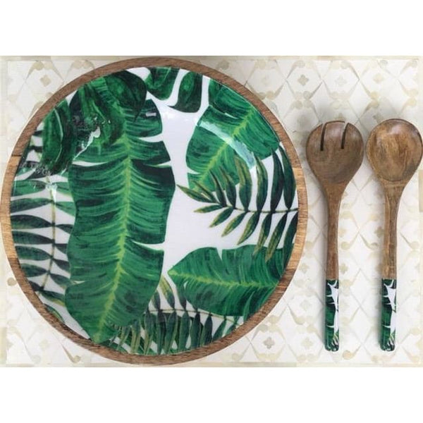 Palm Leaf Salad Bowl - Lacquered