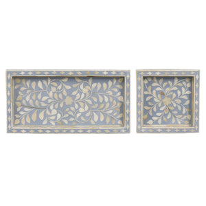 Petite Tray Collection - Pale Blue Leaf / Square - Trays