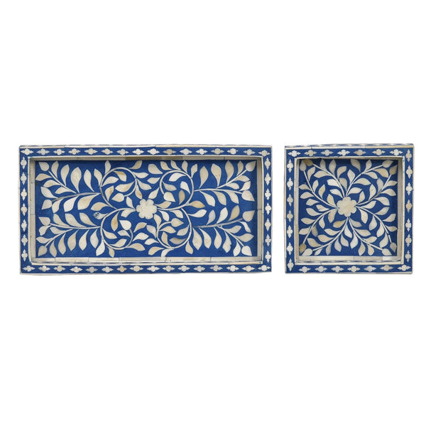 Petite Tray Collection - Royal Blue Leaf / Square - Trays