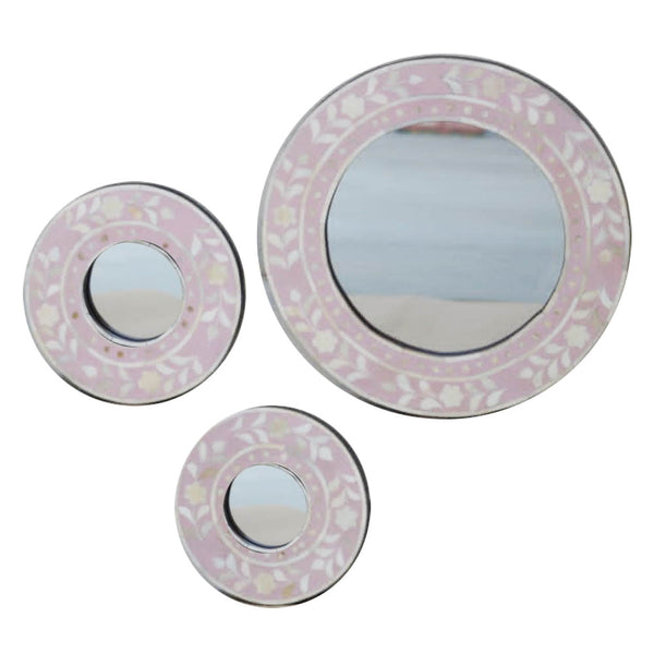 Pale Pink Leaf Round Mirror