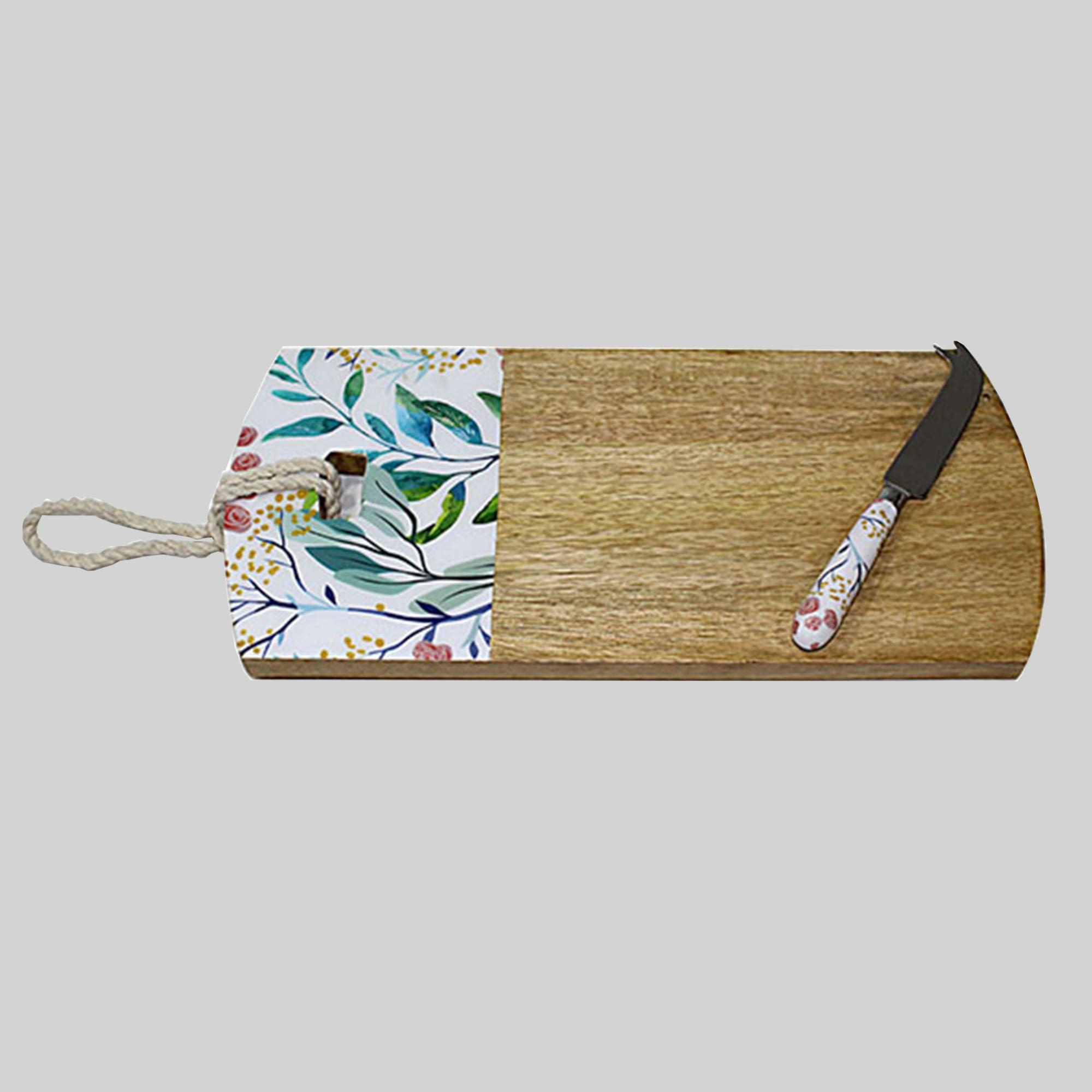 Spring Leaf Cheese Board & Knife - Lacquered