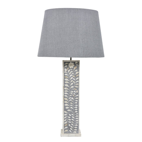 Subtle Grey Leaf Pattern Table Lamp - Tall - Table Lamps