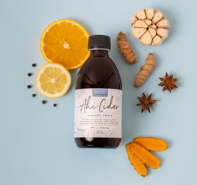 Ahi Cider Immune tonic based on fire cider for gut health with extra focus on immunity support with echinacea, lemon and oranges