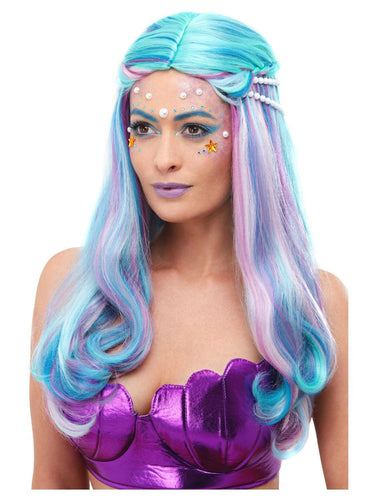 Smiffy Mermaid Wig - Multi Coloured Blue with Pearls