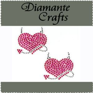 Diamante Crafts - Pink and Clear Devil hearts