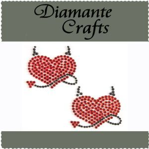 Diamante Craft - Red and Black Devil Heart