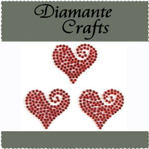 Diamante Crafts - Red Swirl Heart