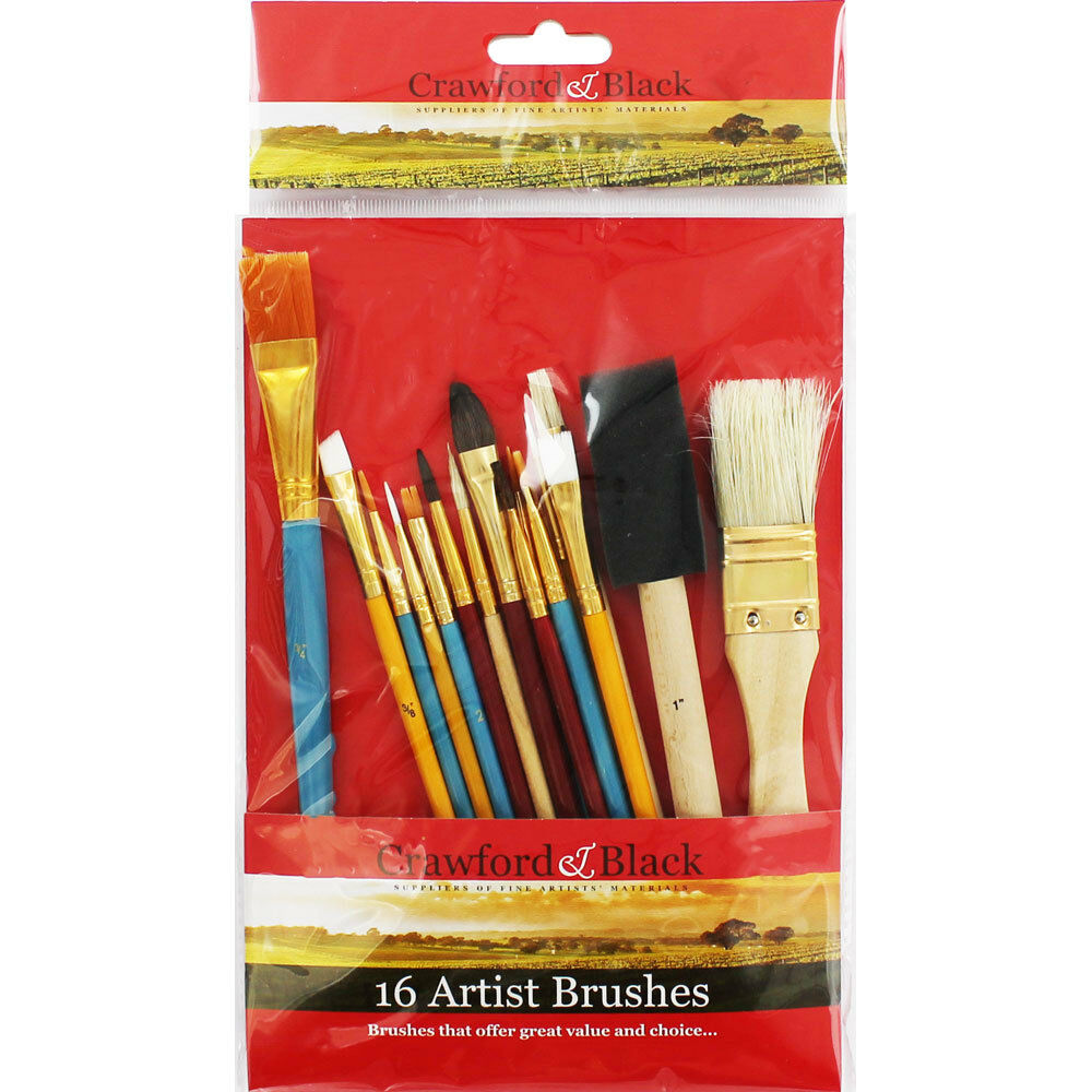Crawford & Black Set of 16 Artist Brushes