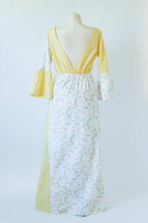 The Emma Dress in Yellow Floral Garden
