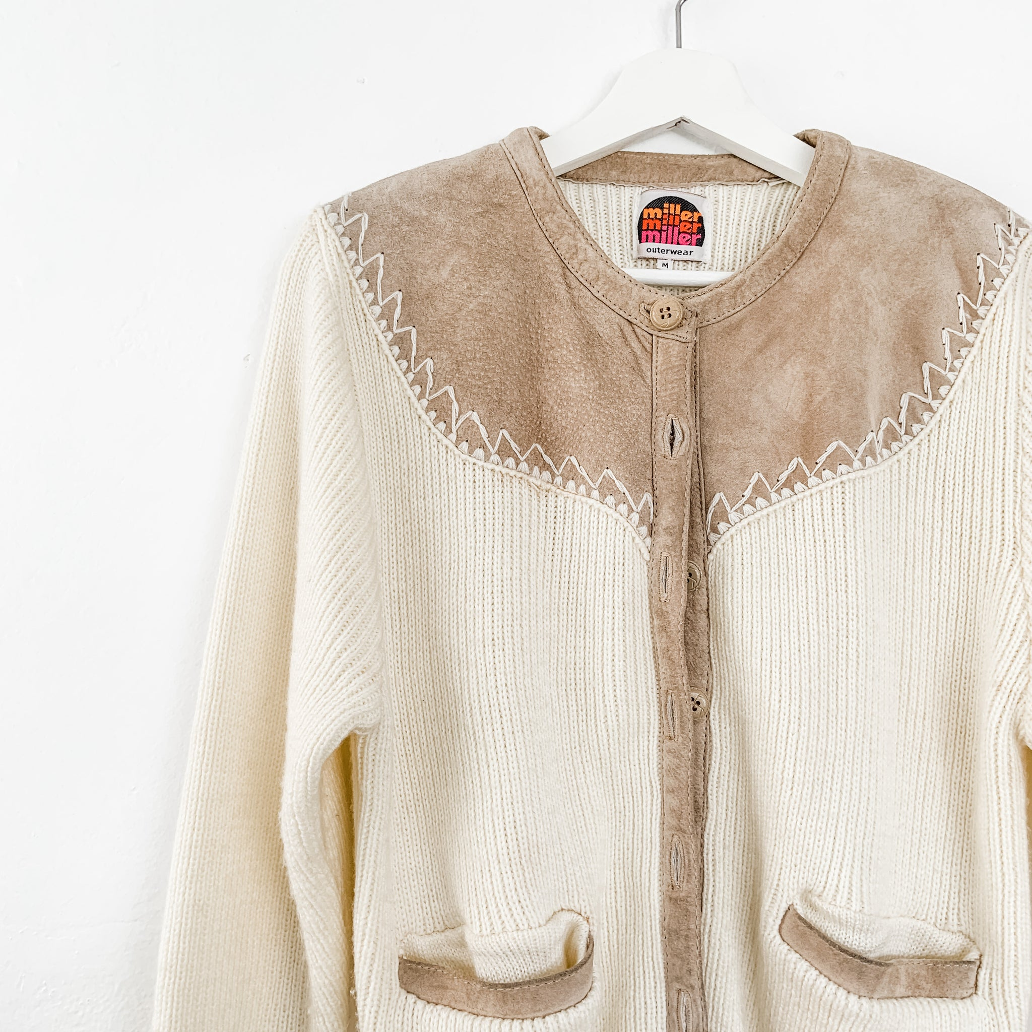 Vintage Cardigan Sweater with suede accents