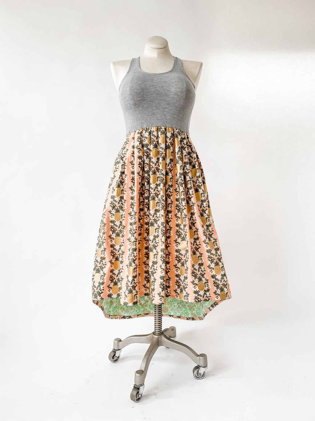 Together Dress in Peachy Pineapple with Train - made with Rifle Paper Co Fabric