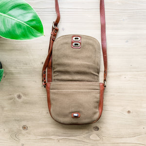 Vintage leather crossbody and canvas bag